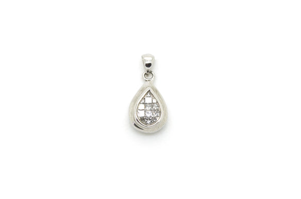 14k White Gold Pear Shaped Pendant with Princess Cut Diamonds - .20 ct. total