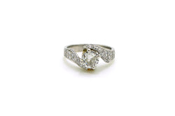 Vintage Platinum Old Euro Diamond Engagement Ring - 1.80 ct. total - Size 6.5