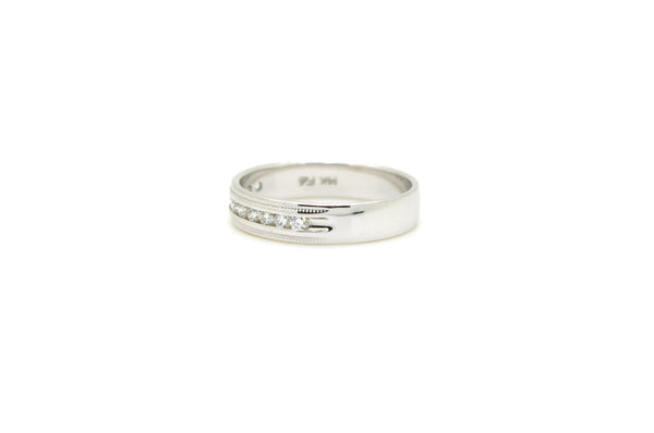 14k White Gold Channel-Set Round Diamond Wedding Band - .25 ct. total - Size 7