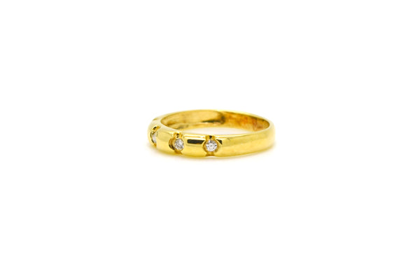 14k Yellow Gold Bezel-Set 4-Stone Diamond Band - .10 ct. total - Size 7
