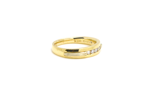 14k Yellow Gold Diamond Five-Stone Wedding Band Ring - .25 ct. total - Size 9.75