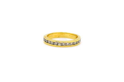 14k Yellow Gold Round Diamond Channel Band Ring - .50 ct. total - Size 6