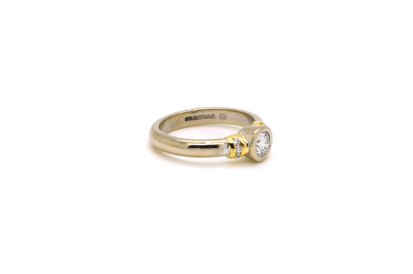 18k White & Yellow Gold Diamond Bezel Promise Ring - .40 ct. total - Size 5.5