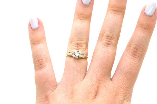 Vintage 14k Yellow & White Gold Diamond Engagement Ring - .25 ct. tw - Size 6.75