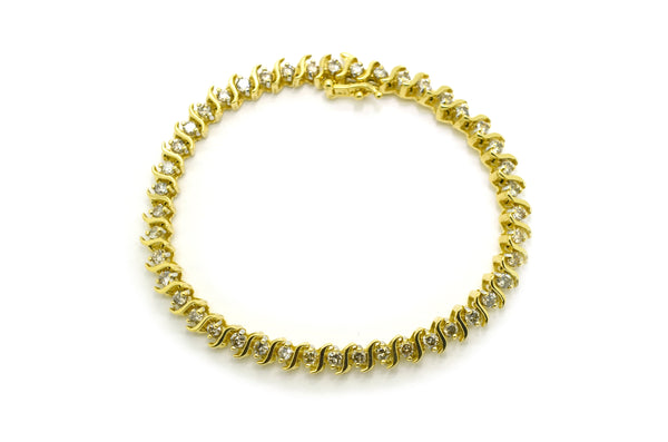 14k Yellow Gold Diamond Link Tennis Fine Bracelet - 2.00 ct. total - 7 in.