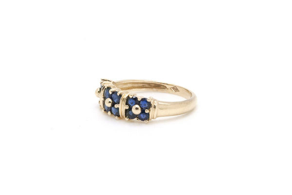 14k Yellow Gold Blue Sapphire Cluster Band Ring - .70 ct. total - Size 6.25