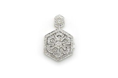 Vintage 14k White Gold Diamond Filagree Locket Drop Pendant - .50 ct. total