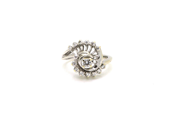 Vintage 14k White Gold Diamond Spiral Cocktail Ring - .35 ct. total - Size 6.5