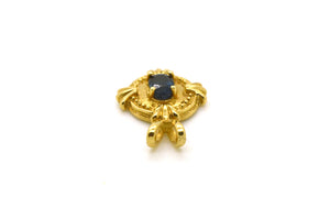 Vintage 14k Yellow Gold Oval Shaped Textured Pendant with Sapphire - .75 ct.