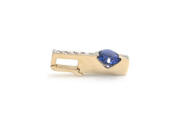14k Yellow Gold Oval Tanzanite & Diamond Slide Pendant - 1.65 ct total - 1.9 dwt
