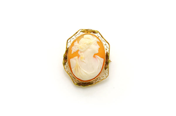 Vintage 14k Yellow Gold Shell Cameo Brooch Pendant with Filagree - 29 by 23 mm