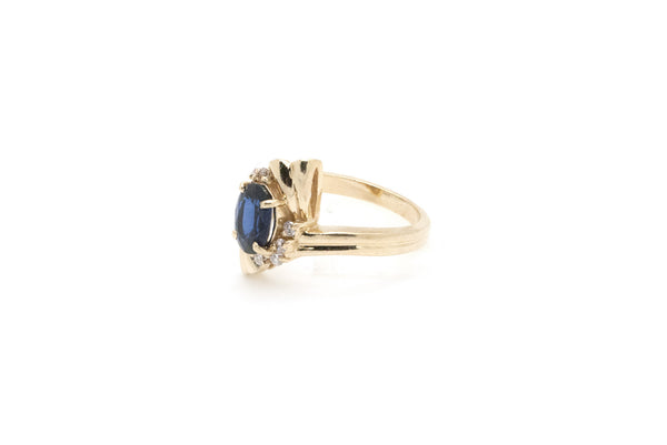 14k Yellow Gold Sapphire & Diamond Cocktail Ring - 1.40 ct. total - Size 6.25