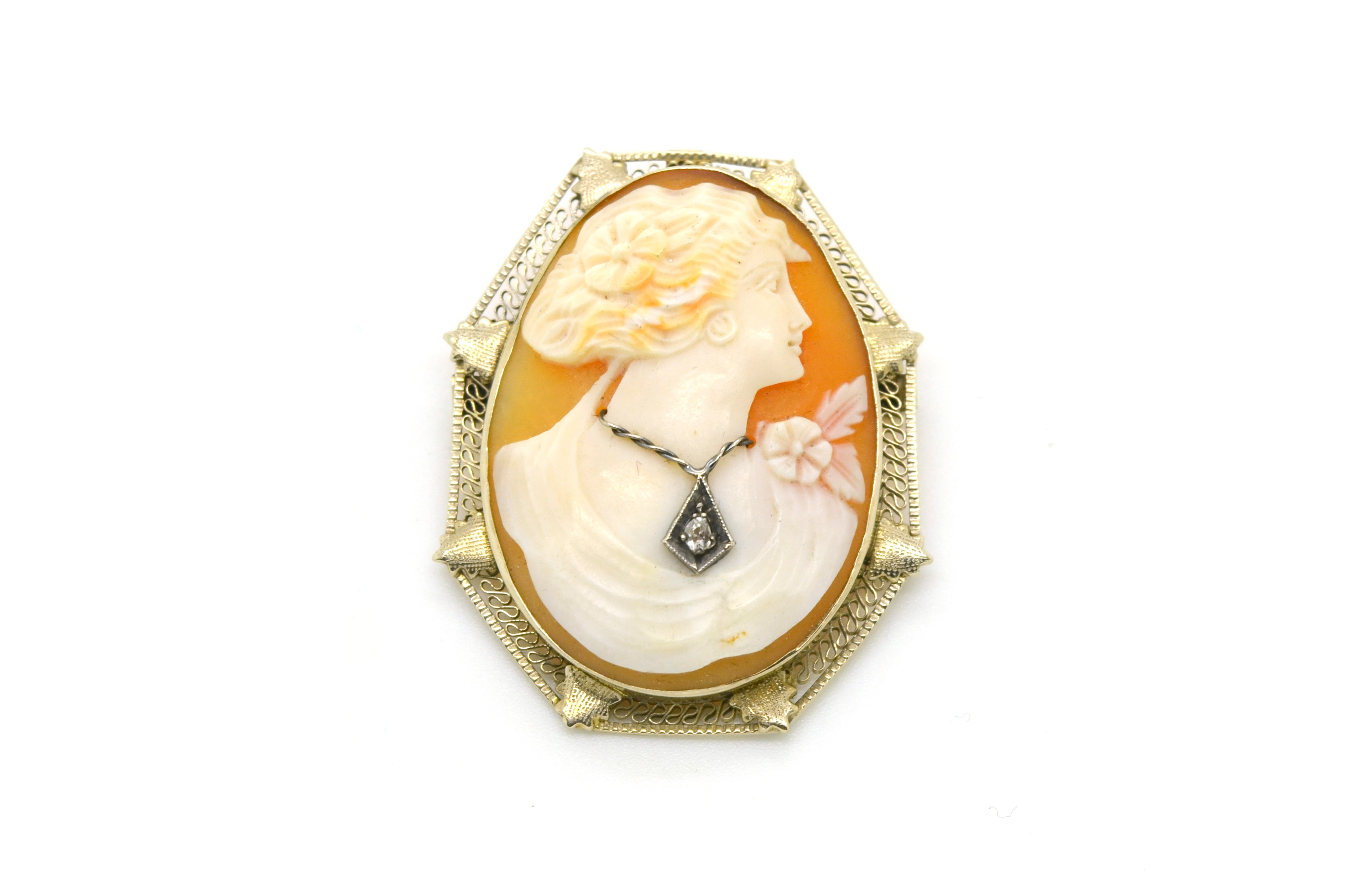 Vintage 14k White Gold Cameo Pendant Brooch with Diamond - .03 ct. - 40 by 32 mm