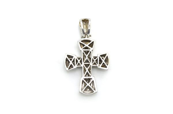 14k White Gold Baguette Diamond Cross Pendant - 42mm by 24mm - .25 ct. total