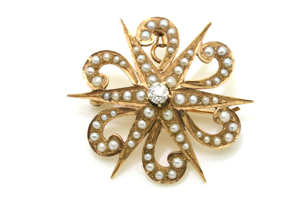 Victorian 14k Yellow Gold Star Pin Brooch Pendant with Seed Pearls & Diamond