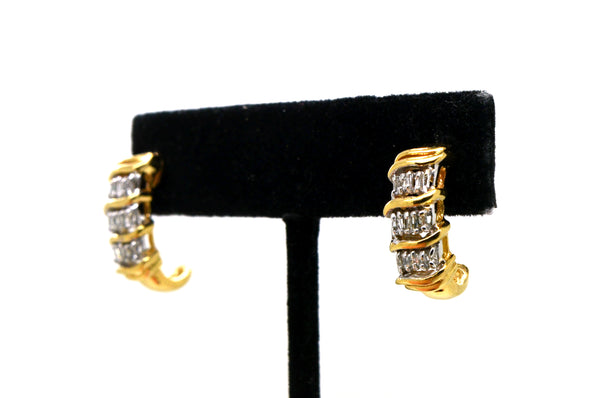 14k Yellow Gold Baguette Diamond Huggie Earrings - 18 mm Drop - .50 ct.