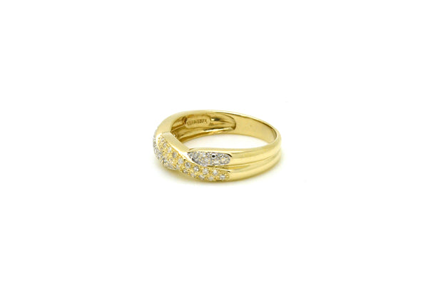 14k Yellow Gold Diamond Pave Twisted Wedding Band Ring - .50 ct. total - Size 9