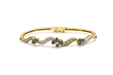 14k Yellow Gold Sapphire & Diamond Flower Bracelet - .75 ct. total - 6.75 in.