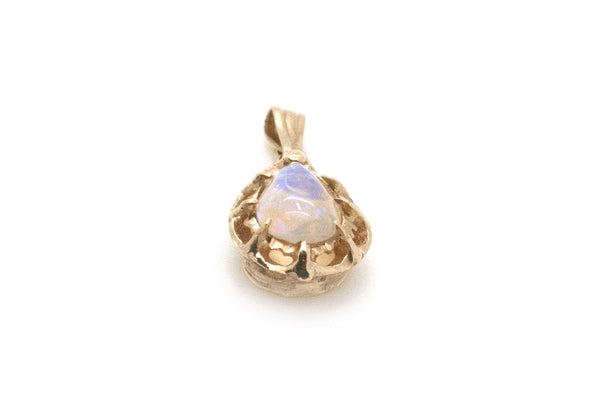 14k Yellow Gold Pear Shaped White Opal Pendant - .60 ct. - 0.7 dwt