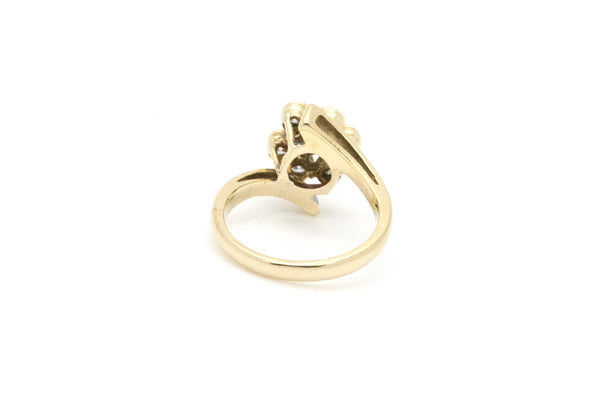 18k Yellow Gold Diamond Bypass Cluster Ring - 1.00 ct. total - Size 5.75