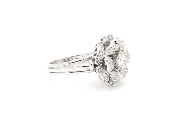 14k White Gold Rose Flower Cluster Diamond Statement Ring - .85 ct. tw - Size 10