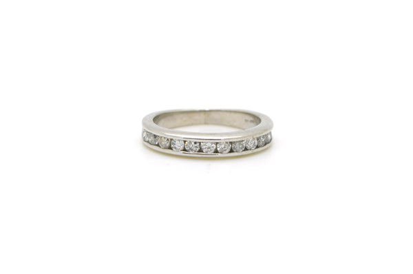 14k White Gold Channel Set Round Diamond Band Ring - .50 ct. total - Size 5.5