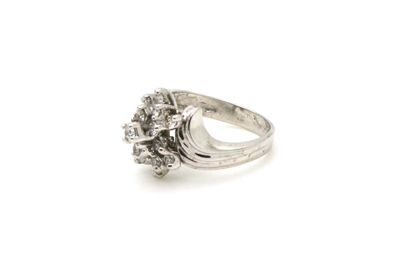 14k White Gold Round Diamond Cluster Cocktail Ring - .30 ct. total - Size 6