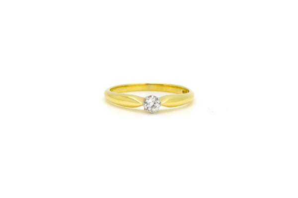 Vintage 14k Yellow Gold Old Mine Cut Diamond Solitaire Ring - .15 ct - Size 7.75