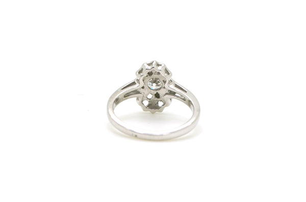 Vintage 14k White Gold Cute Oblong Round Diamond Ring - .25 ct. - Size 5