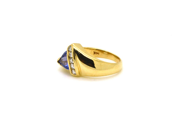 14k Yellow Gold Trillion Tanzanite & Diamond Ring - .80 ct. total - Size 5.5