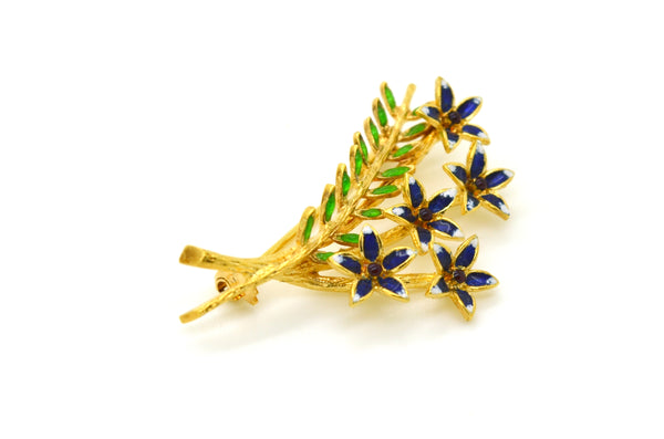 Vintage 18k Yellow Gold Enameled Floral Bouquet Pin Brooch with Pink Stones