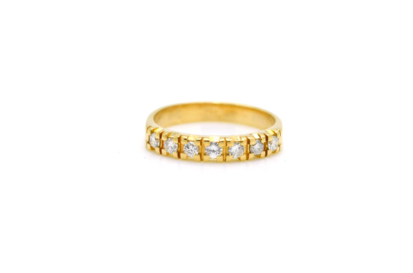 14k Yellow Gold Round Diamond Seven Stone Band Ring - .50 ct. total - Size 6
