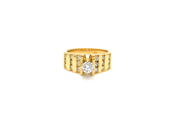 Vintage 14k White & Yellow Gold Diamond Engagement Ring - .95 ct. tw - Size 6.5