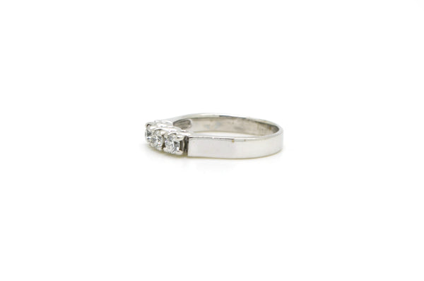 14k White Gold Round Diamond 3-stone Engagement Ring - .51 ct. total - Size 7.75