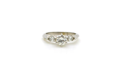 14k White Gold Round & Marquise Diamond Engagement Ring - .50 ct. total - Size 5