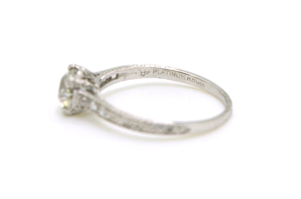 Platinum Old Mine Cut Diamond Engagement Ring - GIA 1.00 ct total - Size 7.25