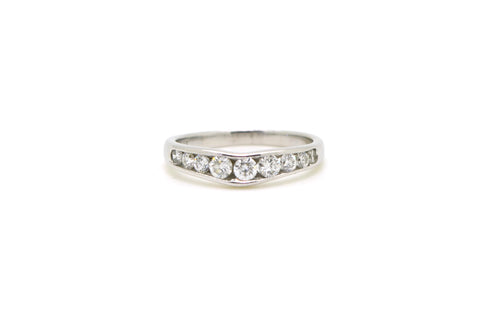 14k White Gold Channel Princess Diamond Band Ring - 1.50 ct. total - Size 5.5