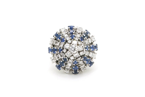 Vintage 14k White Gold Diamond & Sapphire Cluster Ring - 2.75 ct. total - Size 6