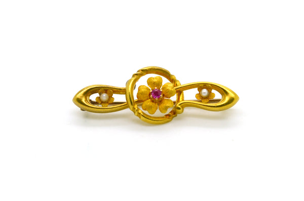 Vintage Art Nouveau 15k Yellow Gold Ruby and Seed Pearl Flower Bar Pin Brooch