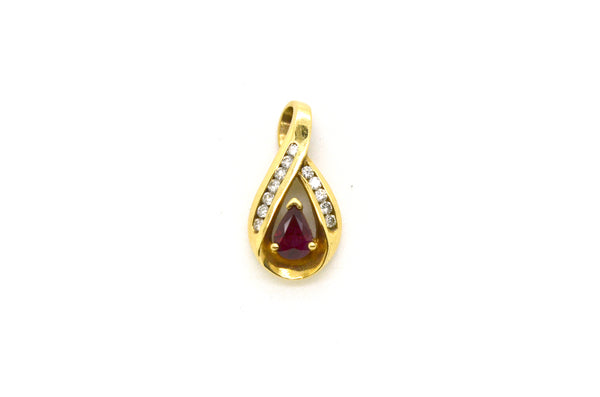 14k Yellow Gold Pendant with Pear Shaped Ruby & Diamonds - .75 ct. total
