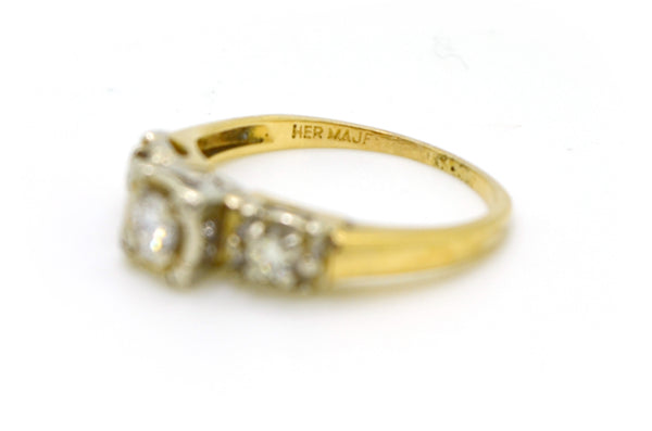 Vintage 14k White & Yellow Gold Diamond Engagement Ring - .30 ct. total - Size 6