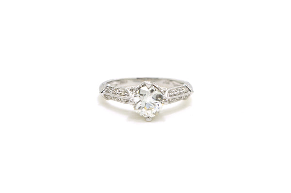14k White Gold Old European Cut Diamond Engagement Ring - 1.16 ct - Size 6.75