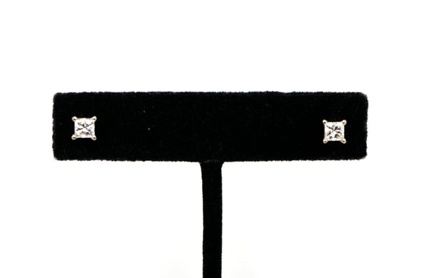 14k White Gold Princess Cut Diamond 4-Prong Stud Earrings - .80 ct. total