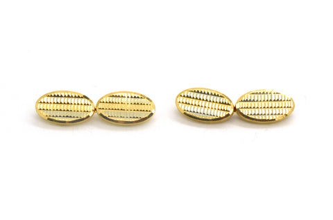 18k Yellow & White Gold Oval Shaped Cufflinks with Pyramid Texture - 6.7 dwt