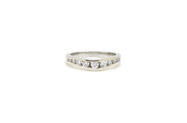 14k White Gold Channel Contoured Diamond Band Ring - .50 ct. total - Size 5.25