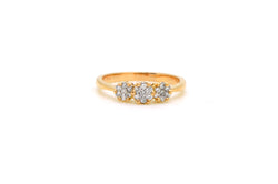 14k Rose Gold 3-Stone Cluster Round Diamond Ring - .20 ct. total - Size 7