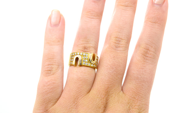 Vintage 18k Yellow Gold Diamond Band Ring with Notches - .50 ct. tw - Size 6.5