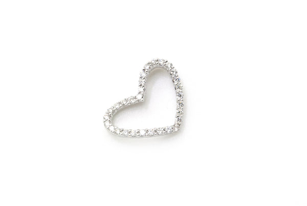 14k White Gold Diamond Sideways Hanging Heart Pendant - .90 ct. total - 1.6 dwt