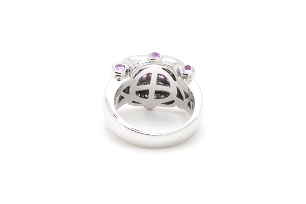 18k White Gold Zora Diamond & Pink Sapphire Cocktail Ring - 1.50 ct. tw - Size 7
