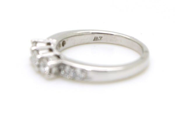 14k White Gold Round Diamond 3-stone Band Ring - .50 ct. total - Size 5.5